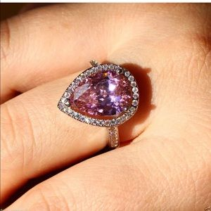 Pink  5 CT engagement pear ring